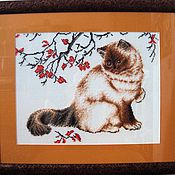 """Картины и панно ручной работы. Ярмарка Мастеров - ручная работа Вышитая картина """"Задумчивый кот"""". Handmade."""
