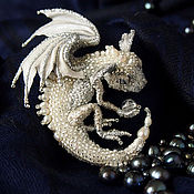 "Украшения handmade. Livemaster - original item Brooch dragon ""Sylvie"" Brooch beads. Silver dragon. Handmade."