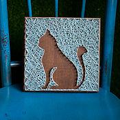 """Картины и панно ручной работы. Ярмарка Мастеров - ручная работа """"Кот"""" в технике String Art. Handmade."""