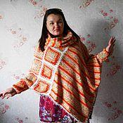 Одежда handmade. Livemaster - original item Poncho + Snood. Grandma`s square +. Knitting.. Handmade.