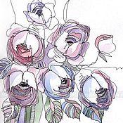 """Картины и панно ручной работы. Ярмарка Мастеров - ручная работа ПРОДАНО!графика """"Розовый букет"""". Handmade."""