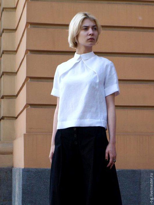 Блузки ручной работы. Ярмарка Мастеров - ручная работа. Купить Рубашка-блуза льняная белая. Handmade. Белый, льняная блузка