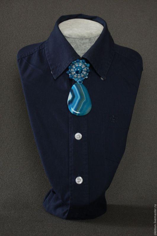 Броши ручной работы. Ярмарка Мастеров - ручная работа. Купить Брошь-галстук. Handmade. Синий, украшение на шею, агат натуральный
