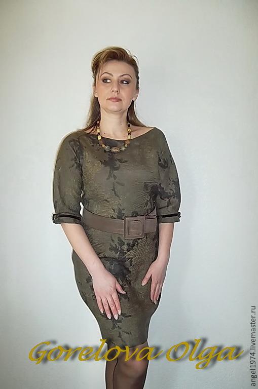 """Платья ручной работы. Ярмарка Мастеров - ручная работа. Купить Валяное платье """"Пробуждение"""". Handmade. Хаки, нуновойлок, платье с кружевом"""