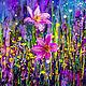 Картины цветов ручной работы. Ярмарка Мастеров - ручная работа. Купить сказочные цветы. Handmade. Цветы, розовый, фиолетовый, ярко