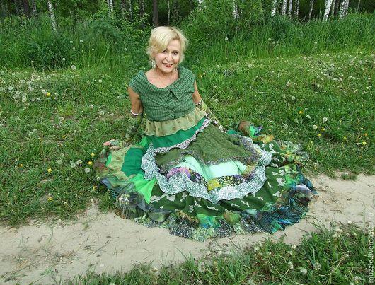 Платья ручной работы. Ярмарка Мастеров - ручная работа. Купить Летняя трава. Handmade. Зеленый, лён