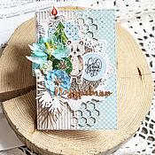 """Открытки ручной работы. Ярмарка Мастеров - ручная работа Новогодняя открытка """"Мишка в голубом"""". Handmade."""