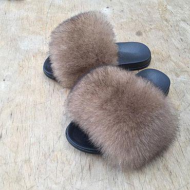 Обувь ручной работы. Ярмарка Мастеров - ручная работа Шлёпки с мехом финского аукционного песца под соболь. Handmade.