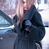 """Одежда ручной работы. Ярмарка Мастеров - ручная работа Пальто с поясом черное """"Черный кашемир"""". Handmade."""