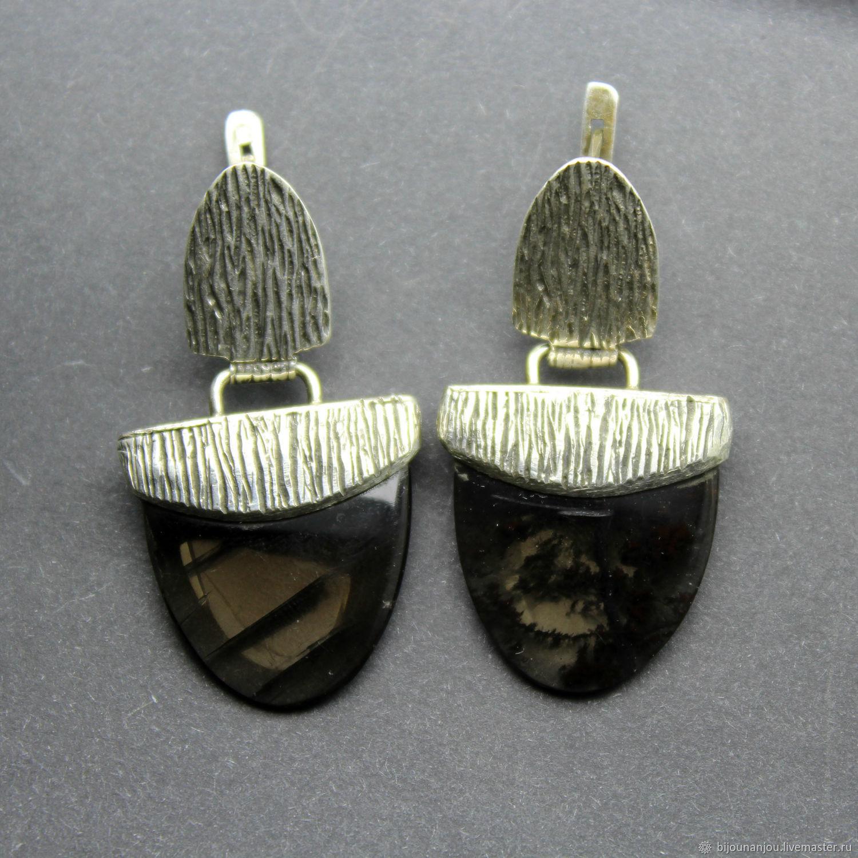 Silver earrings with black obsidian in 925 Sterling silver RS0025, Earrings, Yerevan,  Фото №1