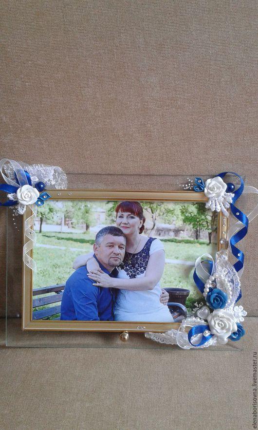 Подарки на свадьбу ручной работы. Ярмарка Мастеров - ручная работа. Купить Свадебная фоторамка. Handmade. Синий цвет, розы