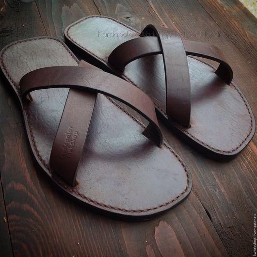 Обувь ручной работы. Ярмарка Мастеров - ручная работа. Купить Сланцы ручной работы из натуральной кожи. Handmade. Коричневый, сланцы