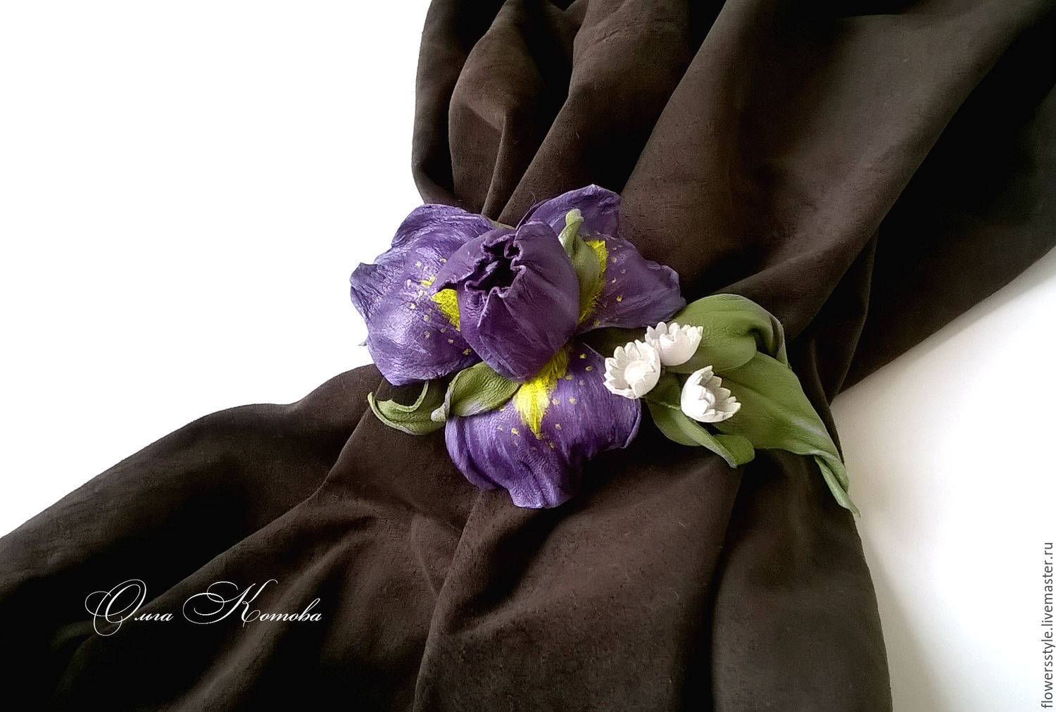 Purple iris flower leather bracelet shop online on livemaster with purple iris flower leather bracelet flowersstyle flowersstyle izmirmasajfo