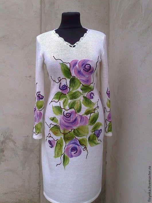 Платья ручной работы. Ярмарка Мастеров - ручная работа. Купить платье вязаное белое. Handmade. Белый, платье коктейльное