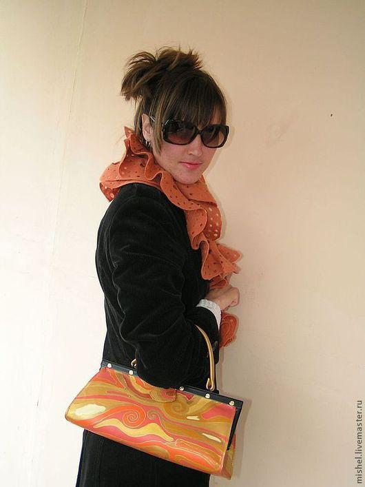 Женские сумки ручной работы. Ярмарка Мастеров - ручная работа. Купить Микросаквояж Золотисто-оранжевый. Handmade. Сумка кожаная