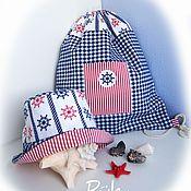Работы для детей, ручной работы. Ярмарка Мастеров - ручная работа Комплект для мальчика - панама и рюкзак. Handmade.