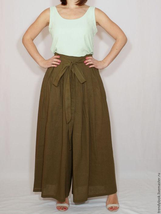 Брюки, шорты ручной работы. Ярмарка Мастеров - ручная работа. Купить Широкие льняные брюки летние штаны темно-зеленые. Handmade.