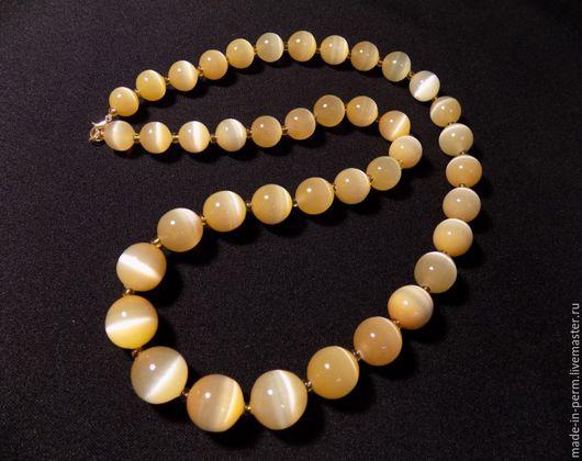 Персональные подарки ручной работы. Ярмарка Мастеров - ручная работа. Купить Ожерелье, бусы из камня Селенит (длинное). Handmade. Селенит