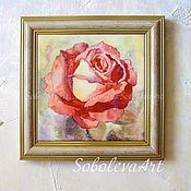 Картина с Розой Цветы Живопись Цветы Акварелью Новогодние Подарки