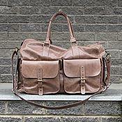 Сумки и аксессуары handmade. Livemaster - original item Large travel leather bag SKIF walnut color. Handmade.