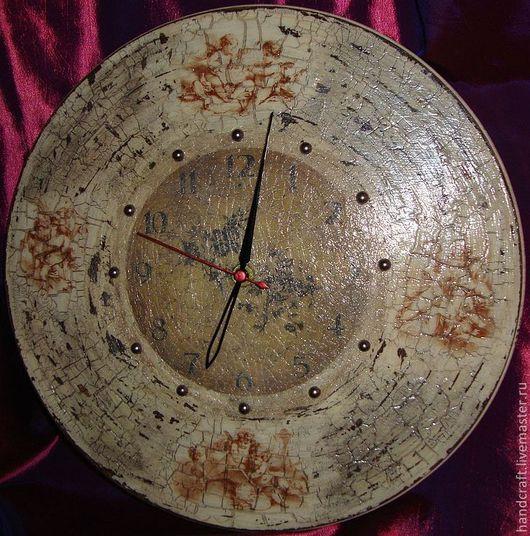 """Часы для дома ручной работы. Ярмарка Мастеров - ручная работа. Купить Часы настенные """"Ангелы"""". Handmade. Золотой, часы декупаж"""
