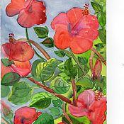 Картины и панно ручной работы. Ярмарка Мастеров - ручная работа Красный гибискус-4.. Handmade.