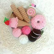 Куклы и игрушки handmade. Livemaster - original item Set of Knitted sweets Play set For girls. Handmade.