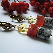 Украшения handmade. Livemaster - original item Earrings carnelian, Jasper, crystal