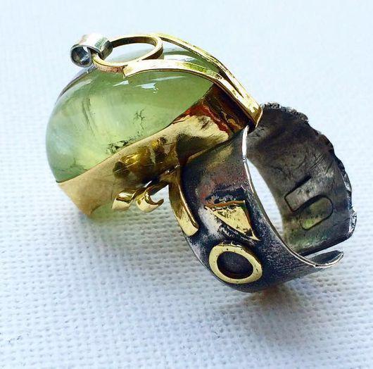 """Кольца ручной работы. Ярмарка Мастеров - ручная работа. Купить Кольцо """" Безумный осьминог"""" ( пренит, серебро , латунь) РЕЗЕРВ. Handmade."""