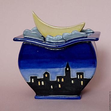 """Для дома и интерьера ручной работы. Ярмарка Мастеров - ручная работа Шкатулка """"Ночь над городом"""". Handmade."""