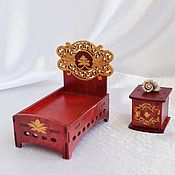Куклы и игрушки handmade. Livemaster - original item A set of furniture: bed and bedside table toy for doll child miniature. Handmade.