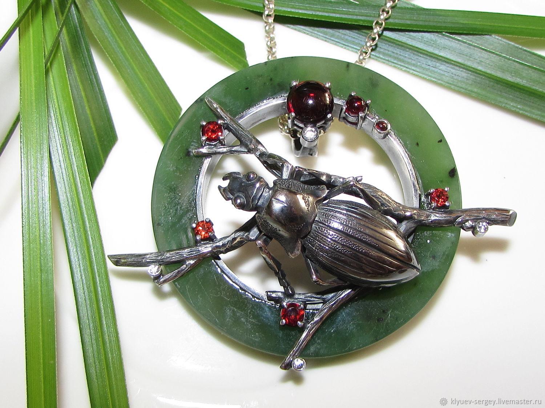 "Кулон ""Жужелица на ветке"", нефрит, ground beetle, Кулон, Москва,  Фото №1"