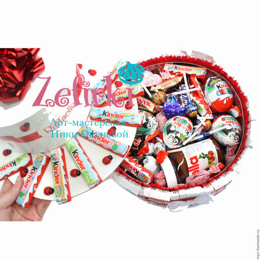 Персональные подарки ручной работы. Ярмарка Мастеров - ручная работа. Купить ТОРТ ИЗ КИНДЕРОВ подарок девушке подарок ребёнку киндер сюрприз. Handmade.