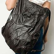 Сумки и аксессуары handmade. Livemaster - original item Brown backpack, genuine leather, pressed, Brown backpack.. Handmade.