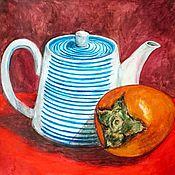 Картины и панно ручной работы. Ярмарка Мастеров - ручная работа Чайник и хурма. Handmade.
