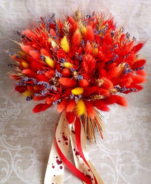 """Букеты ручной работы. Ярмарка Мастеров - ручная работа. Купить Букет """"Ярко-красный"""". Handmade. Сухоцветы, букет цветов"""