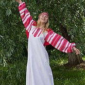 """Русский стиль ручной работы. Ярмарка Мастеров - ручная работа Платье """"Этно"""" бело-красное,вариант 2. Handmade."""