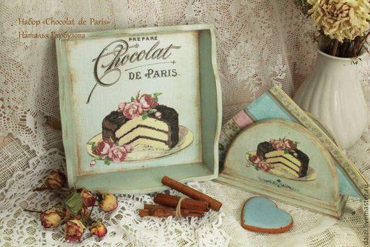 """Кухня ручной работы. Ярмарка Мастеров - ручная работа. Купить Набор """"Chocolat de Paris"""". Handmade. Голубой, пирожное"""