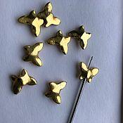 Материалы для творчества ручной работы. Ярмарка Мастеров - ручная работа Бусина бабочка 12 мм позолота по металлу. Handmade.