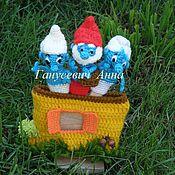 Куклы и игрушки ручной работы. Ярмарка Мастеров - ручная работа СМУРФИКИ пальчиковые, авторская работа. Handmade.