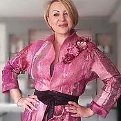 """Одежда ручной работы. Ярмарка Мастеров - ручная работа Жакет валяный"""" Ягодный мусс"""". Handmade."""