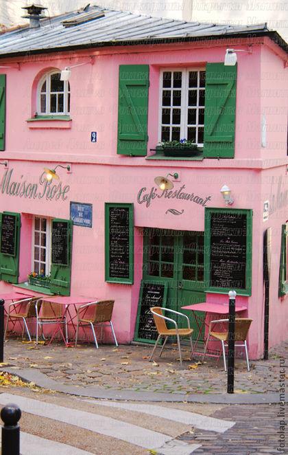 """Фотокартины ручной работы. Ярмарка Мастеров - ручная работа. Купить Фотокартина """"Париж. La Maison Rose"""". Handmade. Фотография, Кафе"""