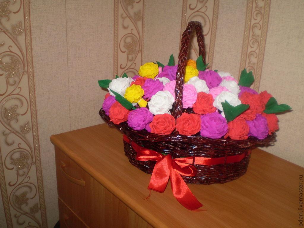 Корзина из цветов из гофрированной бумаги своими