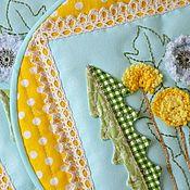 """Прихватки ручной работы. Ярмарка Мастеров - ручная работа Прихватки""""Одуванчики""""текстиль для кухни,мятный,желтый. Handmade."""