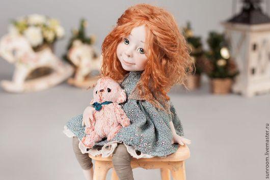 Коллекционные куклы ручной работы. Ярмарка Мастеров - ручная работа. Купить Мой мишка. Handmade. Голубой, светло-серый, зеленый