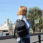 Сумки и аксессуары handmade. Livemaster - original item Leather backpack female black Express Mod R11-111. Handmade.