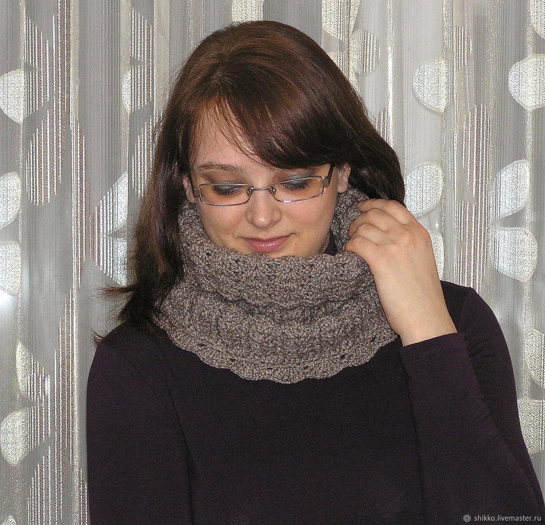 вязаный снуд шарф воротник хомут труба меланжевая дымка купить в
