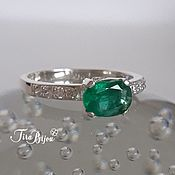 Украшения handmade. Livemaster - original item Silver ring with emerald and cubic Zirconia. Handmade.