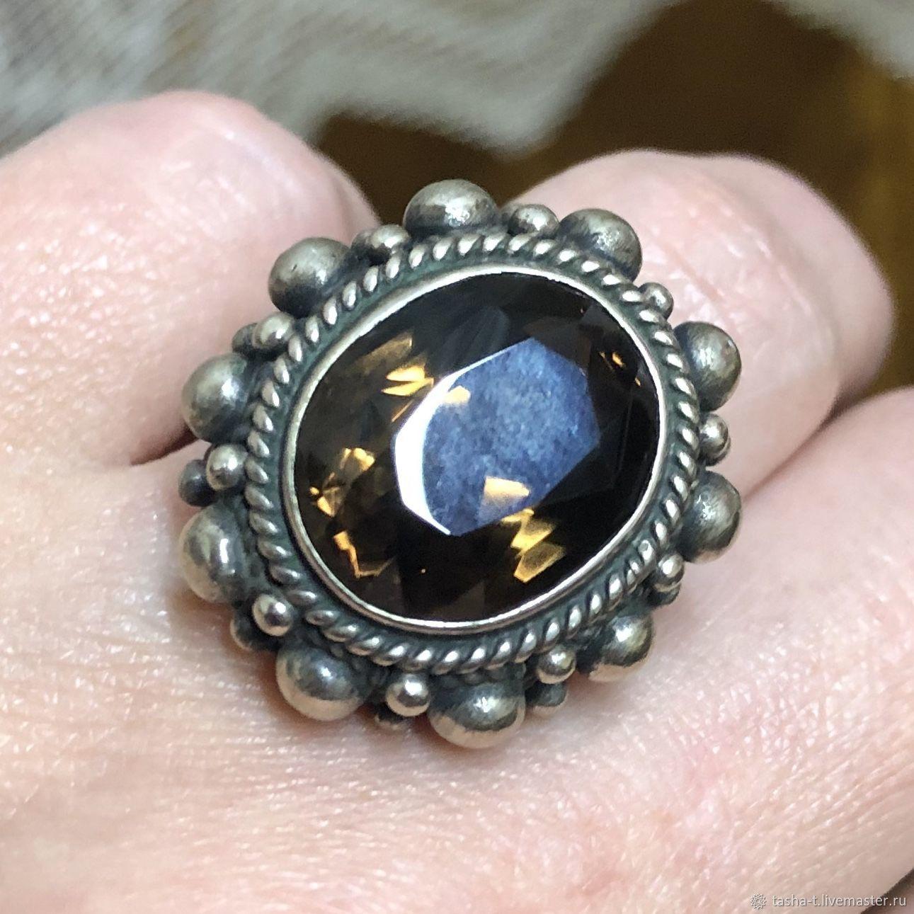 Винтаж: Раухтопаз, старинное  серебряное кольцо, Кольца винтажные, Москва,  Фото №1