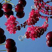 Украшения handmade. Livemaster - original item Raspberry wine - grapes Earrings with natural stones ruby. Handmade.